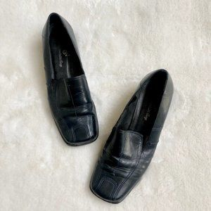 Greenwich Village Black Leather Loafers - Size 8